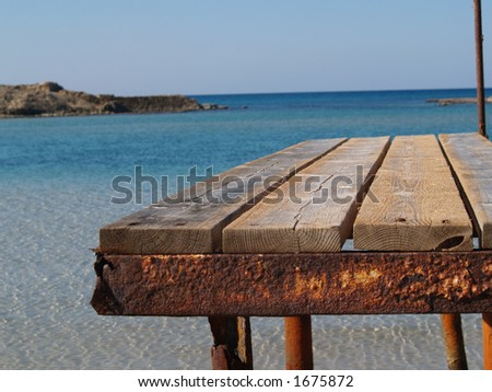 Porch to the sea with place for text - stock photo