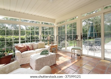 Porch with spanish tile - stock photo