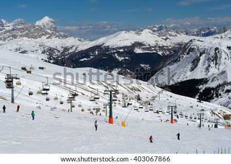 PORDOI, TRENTINO/ITALY - MARCH 26 : Skiing in the Dolomites at the Pordoi Pass Trentino in Italy on March 26, 2016. Unidentified people