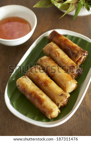 pork and vegetable spring roll in vietnam food - stock photo
