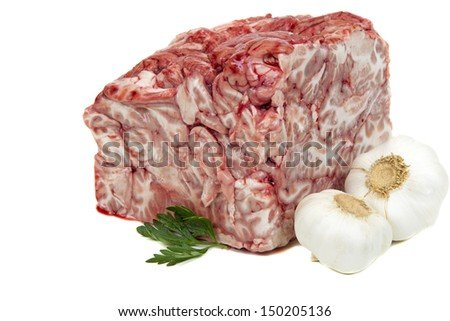 Pork brain with garlic and parsley isolated on white background - stock photo