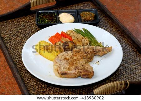 Pork chop steak - stock photo