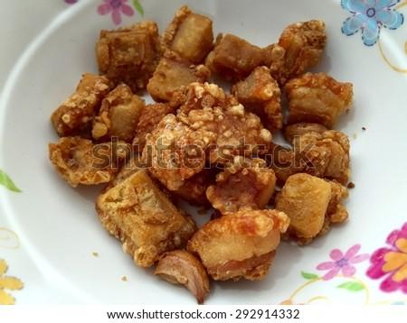 Pork Crackling / Thai food - stock photo