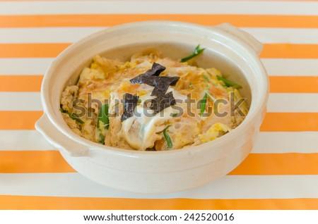 pork cutlet , vegetable and egg on rice , japanese Katsudon - stock photo