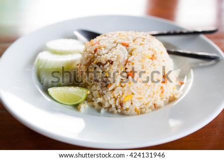 pork fried rice green lemon - stock photo