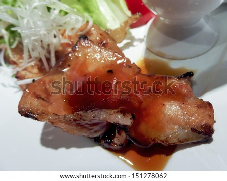 Pork grilled with sauce, japanese food - stock photo