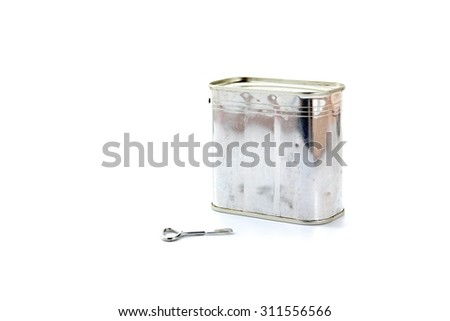 Pork luncheon meat can with opener on white background. - stock photo