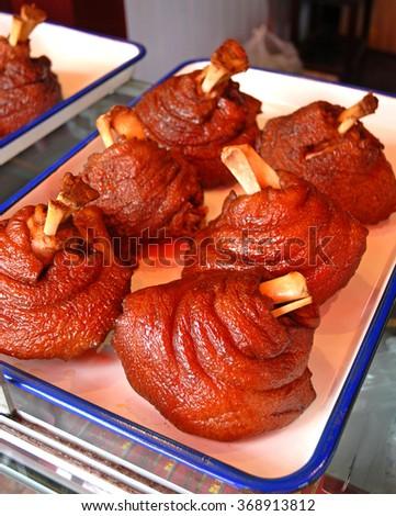 Pork meat display at Xitang ancient town. - stock photo
