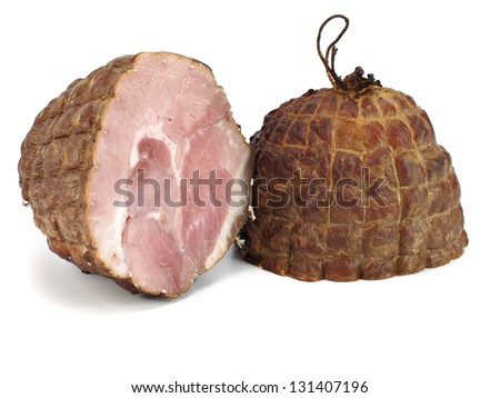 pork meat sausage on a white background
