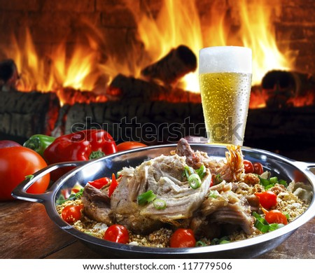pork meat with beer