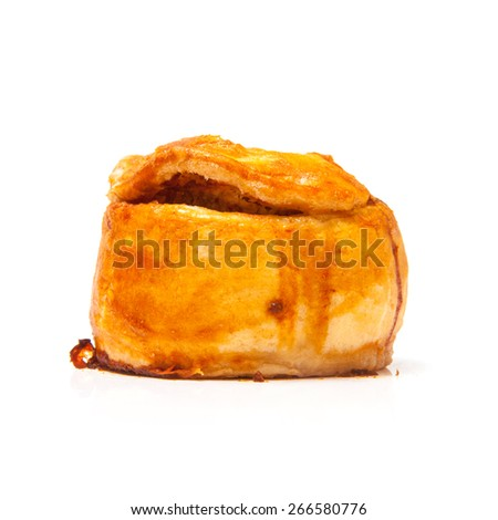 Pork pie isolated on a white studio background.