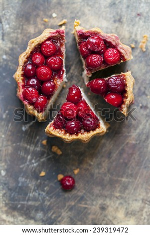 Pork pie with cranberry topping - stock photo