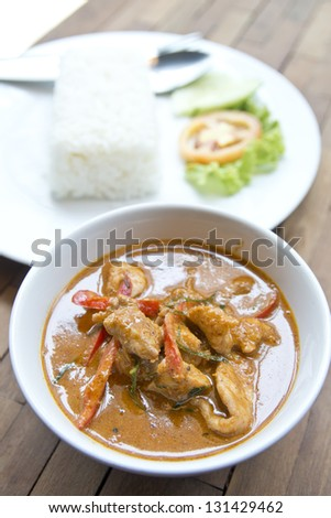 pork red curry and stream rice, THAI FOOD - stock photo
