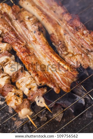 Pork ribs and skewers on a grill (shallow dof) - stock photo