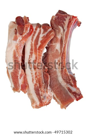 Pork ribs with clipping path - stock photo