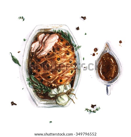 Pork Roast - Watercolor Food Collection - stock photo
