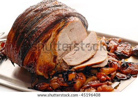 Pork roasted with apples, onions and Thyme