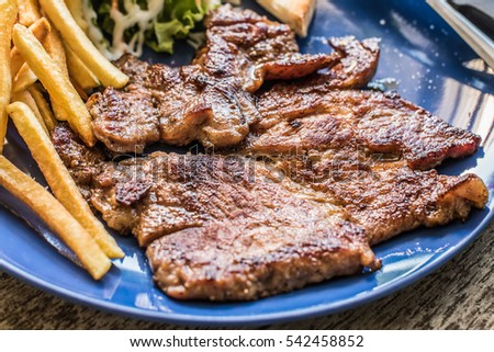 Pork steak with black pepper