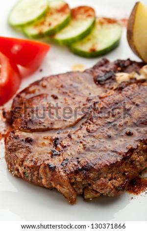 Pork Steak with Mashed Potato - stock photo