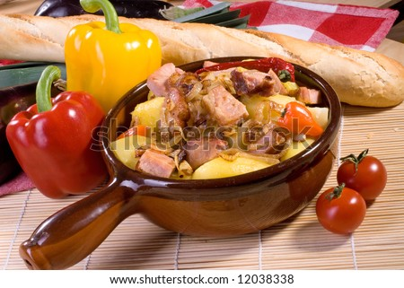 Pork stew with potatoes, pepper and other vegetables
