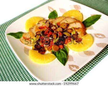 Pork tenderloin with pinapple sauce - stock photo
