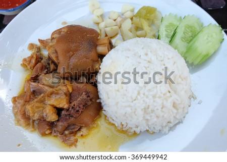 Pork with rice - stock photo