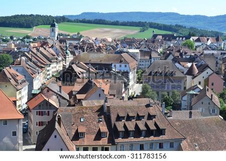 Porrentruy town in the canton Jura, Switzerland - stock photo