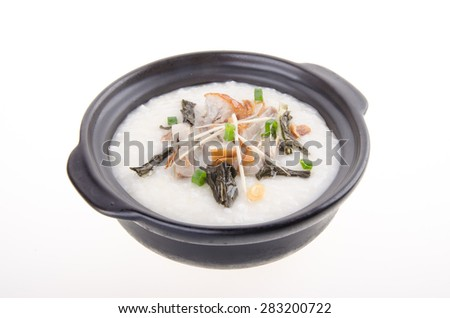 Porridge, pork Porridge (congee) served in claypot