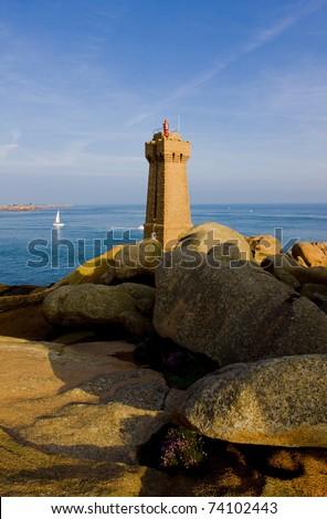 Pors Kamor lighthouse, Ploumanac'h, Brittany, France - stock photo