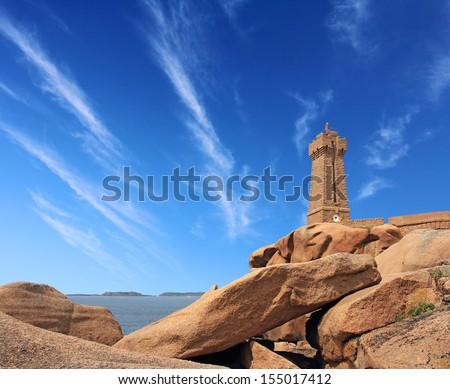 Pors Kamor lighthouse, Ploumanach, Brittany, France - stock photo