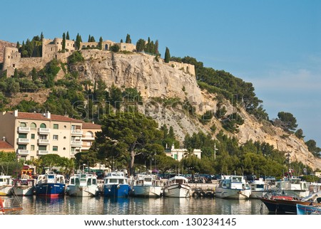 Port medieval castle cassis france stock photo royalty for Cassis france hotels