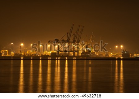 Port at night - stock photo