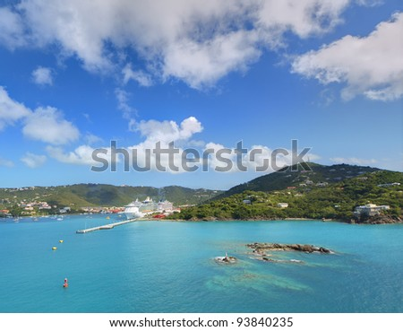 Port at St. Thomas, U.S. Virgin Islands. - stock photo