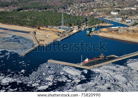 Port at the Gulf of Riga - stock photo
