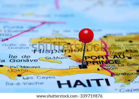 Port-Au-Prince pinned on a map of America  - stock photo