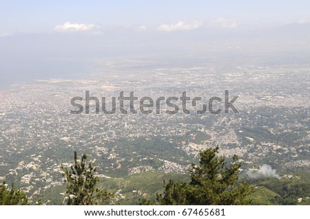 PORT-AU-PRINCE - SEPTEMBER 2:  An aerial view of  Port-Au-Prince, in Port-Au-Prince, Haiti on September 2, 2010. - stock photo