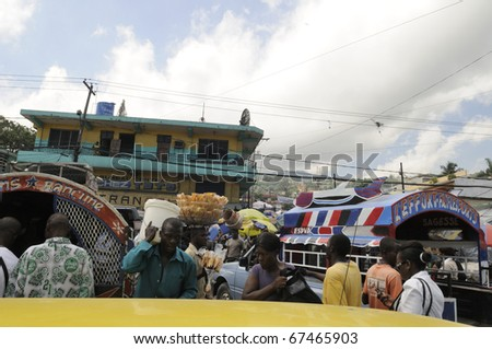 PORT-AU-PRINCE - SEPTEMBER 2:View of the market area of Port-Au- Prince which has suffered serious loss since the earthquake as  many people went outside, in Port-Au-Prince, Haiti on September 2,2010. - stock photo