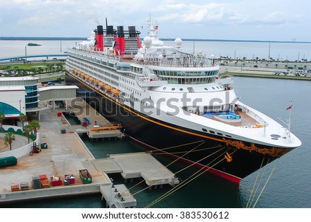 PORT CANAVERAL, FLORIDA: SEPT 28, 2008 : Cruise ship Disney Wonder (Disney Cruise Line) docked in Port Canaveral, Brevard County,Florida, USA on Sept 28th 2008.