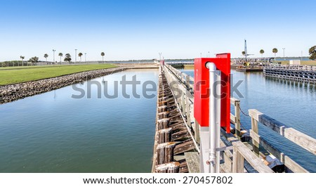 Port Canaveral Lock Western Side - stock photo