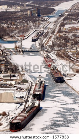 Port Colborne, Ontario, Canada. Harbour in the winter/spring of 2006 with ships docked for winter. - stock photo