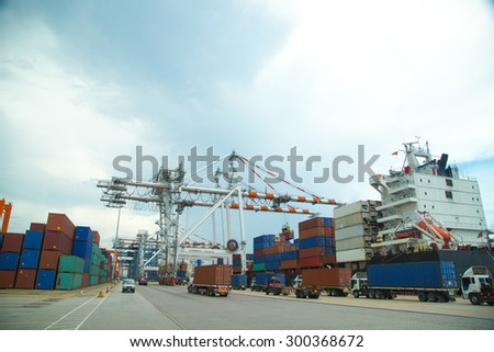 Port container terminal for transportation your product in the morning.