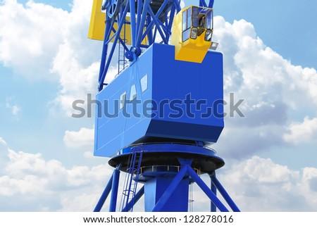 Port crane cabin close-up - stock photo