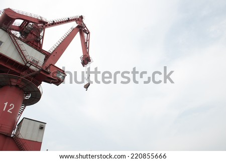 port crane close up - stock photo