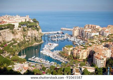 Port de Fontveille panorama. Monte Carlo. - stock photo