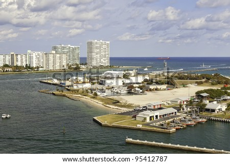 Port Everglades Inlet in Fort Lauderdale, Florida - stock photo