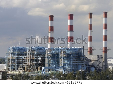 Port Everglades power plant in South Florida - stock photo