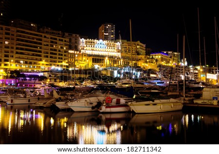 Port Hercule and the city at night. Monte Carlo, Monaco, France