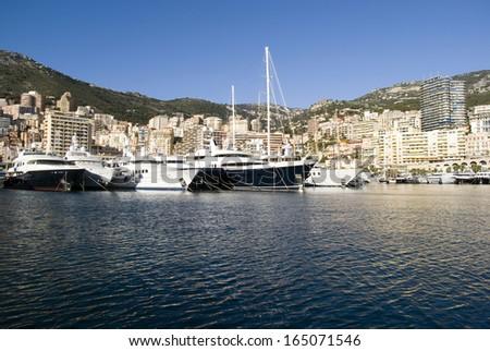 Port Hercules in the Principality of Monaco - stock photo