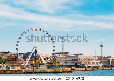 Port In Helsinki City, Finland. Cityscape View From Sea - stock photo