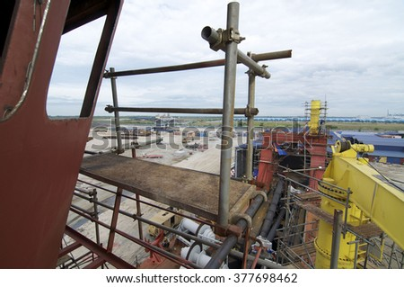PORT KLANG, MALAYSIA. Circa Feb 2010. Progress of Vessel Construction at one of well known shipyard in Malaysia.The deadweight is circa 52,000 tonnes.